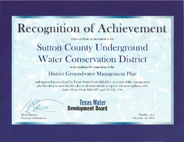 Image of certificate of Recognition of Achievement awarded to the SCUWCD by the Texas Water Development Board upon approval of our 2014-2019 Management Plan