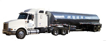 Generic water tanker tractor-trailer rig, to illustrate transportation of water